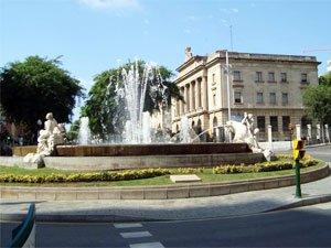 Площадь с фонтаном Четырех континентов (фонтан Столетия)