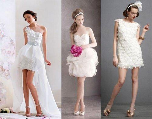 Короткое свадебное платье на пляже