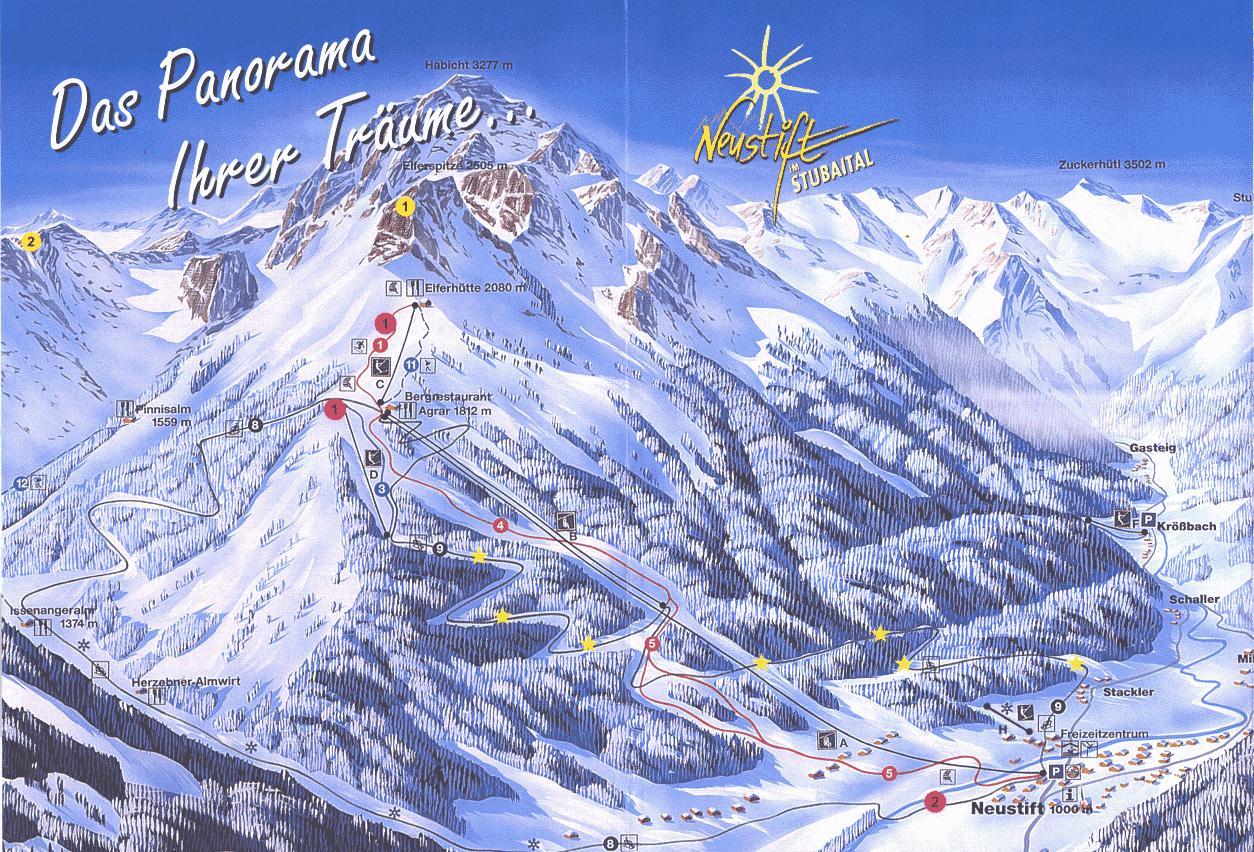 Схема трасс горнолыжного курорта Нойштифт